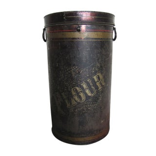 19th Century Antique General Store Japanned Stenciled Black Tole Flour Tin Bin