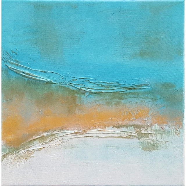 Abstract Modern Textured Metallic Gold & Turquoise Painting on Canvas - Image 4 of 4