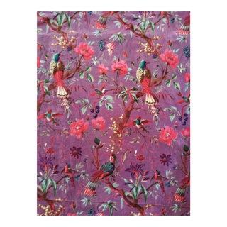 Cotton Velvet purple Chinoiseri Fabric, 3yds