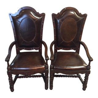 Maitland Smith Leather Arm Chairs - A Pair