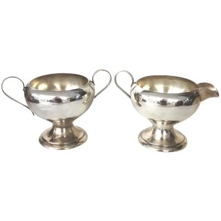2-Piece Silver-Plate Art Deco-Style Cream & Sugar