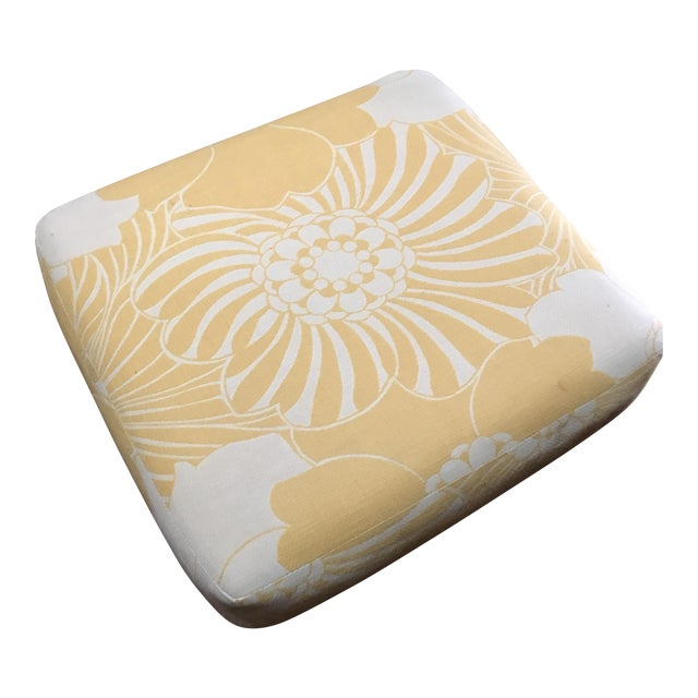 Yellow Floral Floor Cushion - Image 1 of 6
