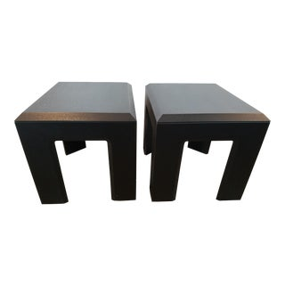 Lane Black Textured Side Tables - A Pair