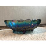 "Image of Indiana Glass ""Harvest Grape"" Blue Carnival Glass Center Bowl"