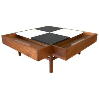 John Keal for Brown-Saltman Checkered Top Walnut Coffee Table