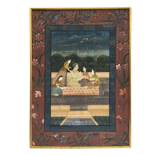 Vintage Indian Framed Painting on Silk Punjab Hills Chelsea House
