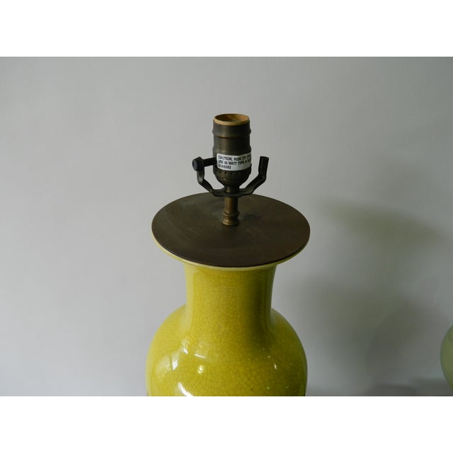 Yellow Crackled Table Lamp - Image 4 of 5