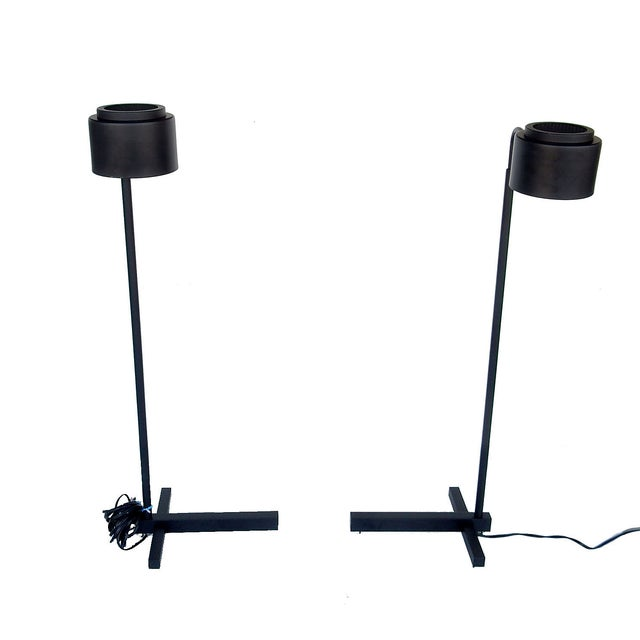 Original Casella Black Floor Lamps - Pair - Image 2 of 9
