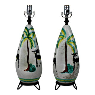 1960's Italian Hand-Painted Lamps - A Pair