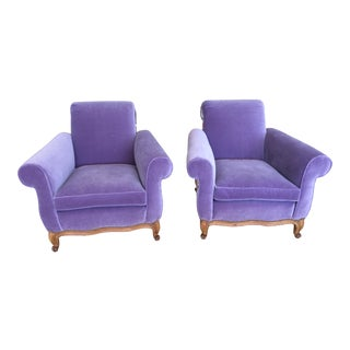 French Lavender Club Chairs - A Pair
