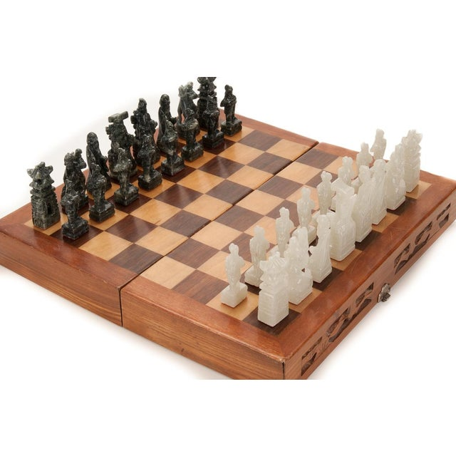 Chinese Green & White Jade Soap Stone Chess Set - Image 2 of 8