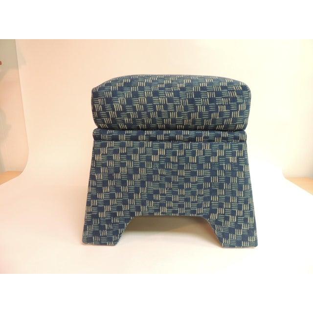 Vintage Stools Covered in Vintage Batik Indigo Textile - Pair - Image 3 of 6