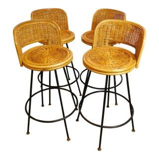 Mid-Century Wicker Bar Stools - Set of 4