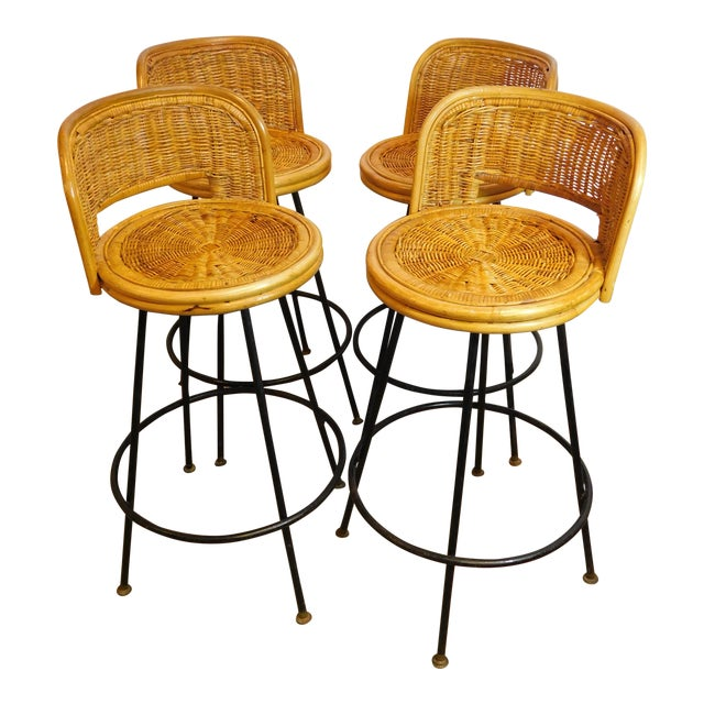 Mid-Century Wicker Bar Stools - Set of 4 - Image 1 of 8