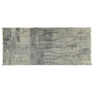Gray Striped Moroccan Rug - 5′ × 11′5″