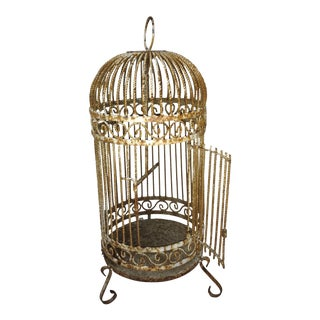 Large Vintage Metal Wire Bird Cage