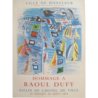 1954 Original Vintage French Exhibition Poster, Minimalist Poster, Hommage à Raoul Dufy