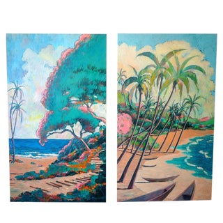 Set of Two Oil Painting on Canvas of Hawaii by American Artist Nathan Solano