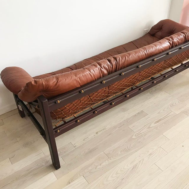 1960s Jean Gillon Brazilian Rosewood Leather Sling Sofa by Italma - Image 3 of 9