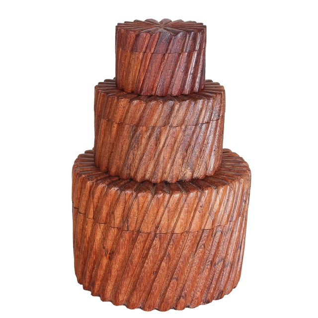 Hand Carved Indian Sheesham Nesting Boxes - 3 - Image 1 of 6