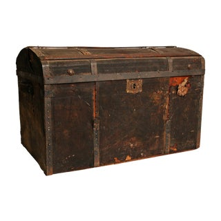 Vintage Wood Camelback Trunk