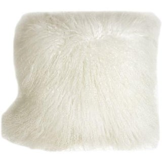 Mongolian Sheepskin Snow White 18x18 Pillow