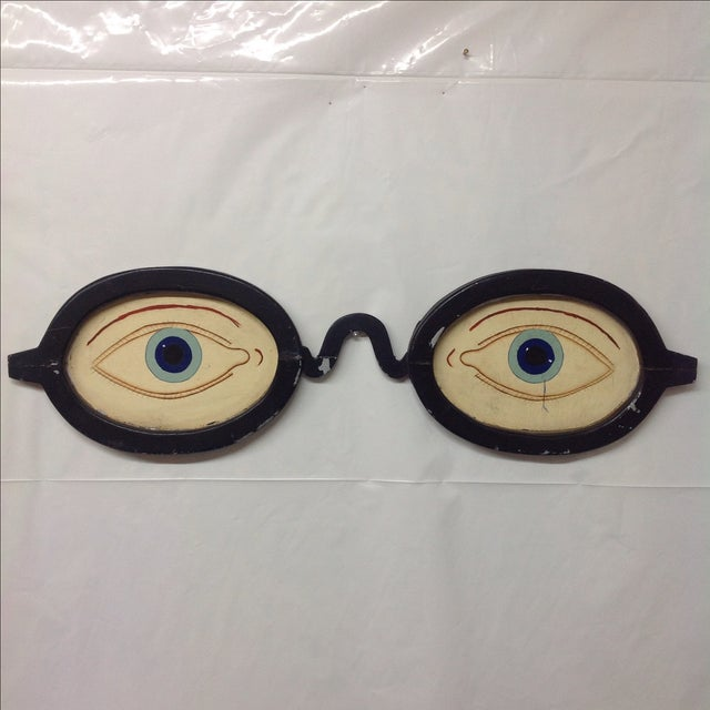 Image of Large Antique Steel and Wood Optometry Sign