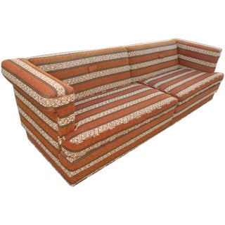 Mid-Century Modern Orange Stripped Sofa