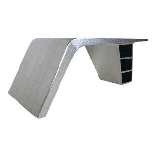 Restoration Hardware Polished Aluminum Aviator Wing Desk