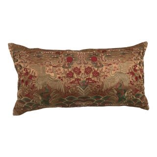 Chinese Chinoiserie Bronze Silk Crane Embroidered Boudoir Pillow