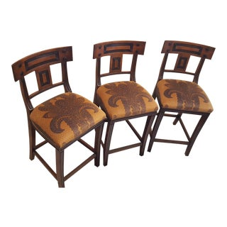 Michael Taylor Walnut Bar Stools - Set of 3