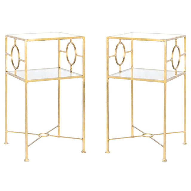 Gold Leaf Side Tables by Worlds Away - A Pair - Image 1 of 5