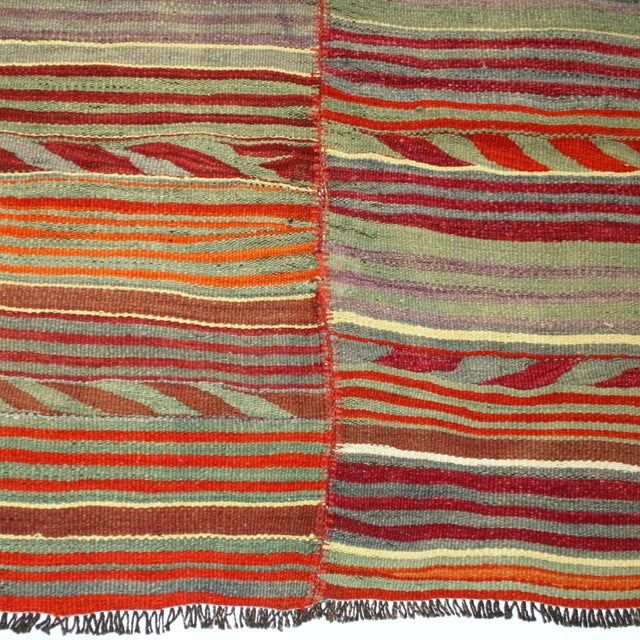 Two-Panel Vintage Turkish Kilim Rug - 6'3 X 8'9 - Image 3 of 4