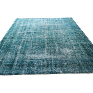 Turquoise Overdyed Turkish Rug - 7′2″ × 8′10″