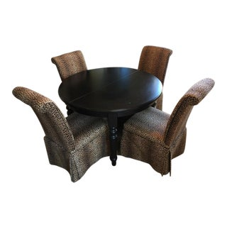 Group of Four Leopard Print Upholstered Side Chairs & Table