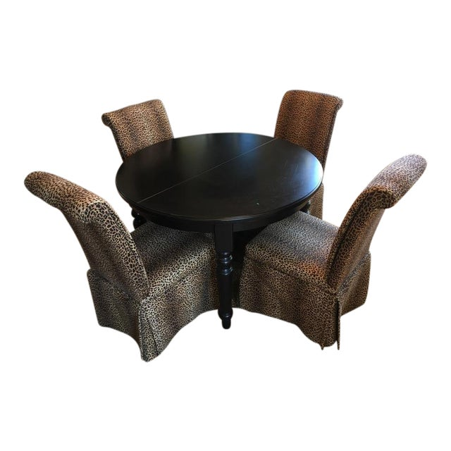 Group of Four Leopard Print Upholstered Side Chairs & Table - Image 1 of 9