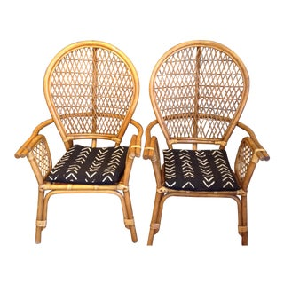 Boho Chic Rattan Highback Chairs - A Pair