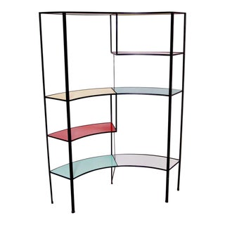 Multicolored Vitrolite Glass Wrought Iron Shelf by Frederic Weinberg