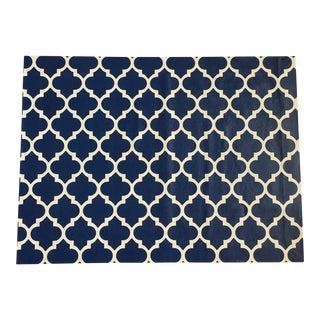 Blue & White Trellis Canvas Rug - 3' X 4'