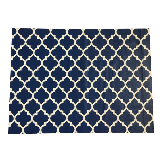 Image of Blue & White Trellis Canvas Rug - 3' X 4'