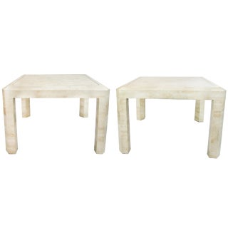 Tessellated Limestone Side Tables, Pair
