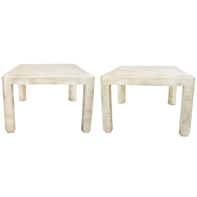 Tessellated Limestone Side Tables, Pair - Image 1 of 7
