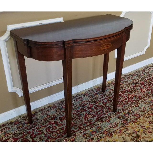 Mahogany Sheraton Style Paine Furniture Flip Top Console Hallway Table C1940s Chairish