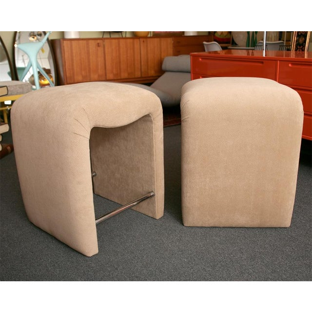 Luxe Modern Faux Ostrich Upholstered Stools - Image 4 of 9