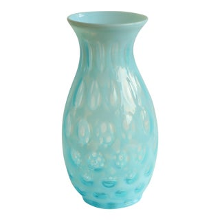 Blue Coin Dot Art Glass Vase