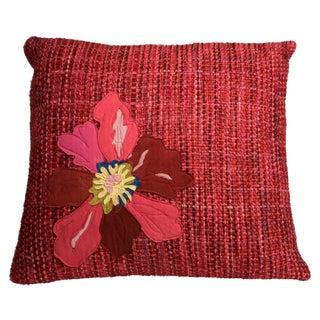 Red Flower Hand-Woven Pillow