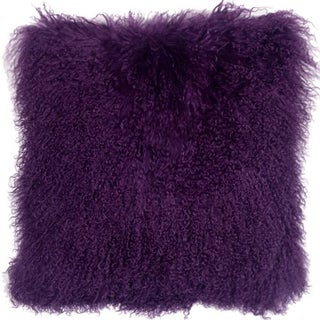 Mongolian Sheepskin Purple 18x18 Pillow