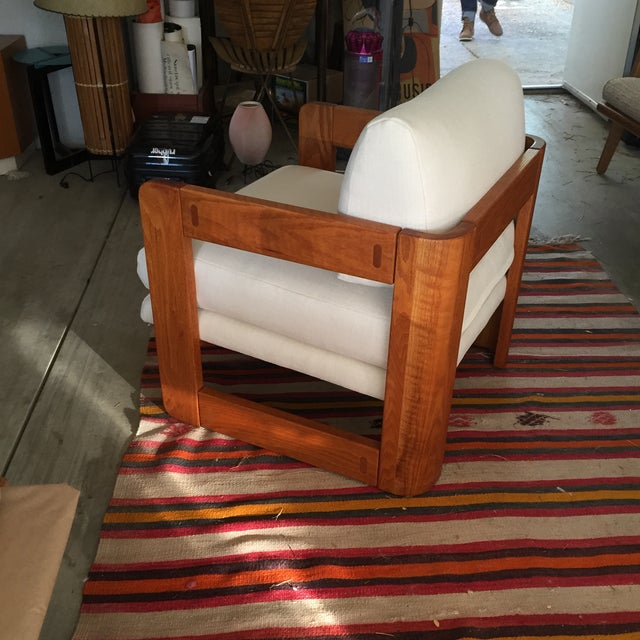 Vintage Wood and Linen Armchair - Image 2 of 11