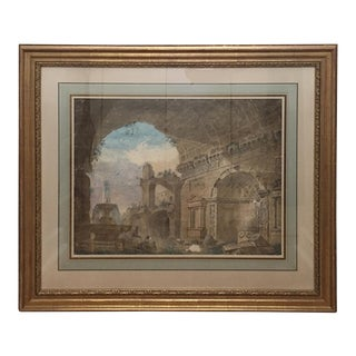 Italian Capriccio Watercolor Painting