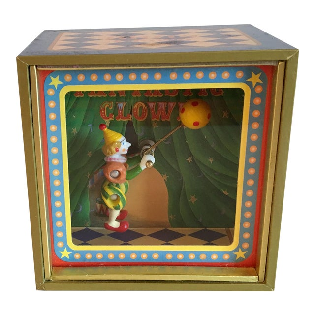 Vintage Music Box With Animated Clown Plays Bolero - Image 1 of 4
